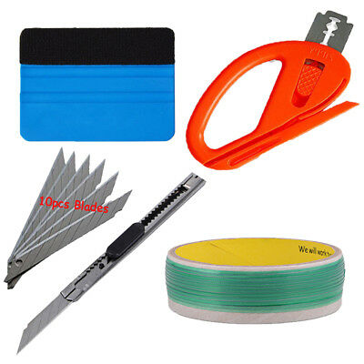 5M Knifeless Finish Line Tape  Squeegee Cutter Vinyl Car Wrapping Tools Kit US