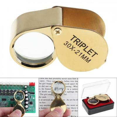 Pocket 30x Magnifier Jeweller Eye Glass 21mm Loop Lens Magnifying Loupe Gold