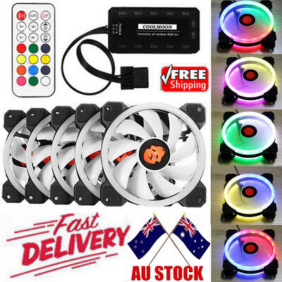 AU!! 5Pack RGB LED Quiet Computer Case PC Cooling Fan 120mm w/Remote Control Lot