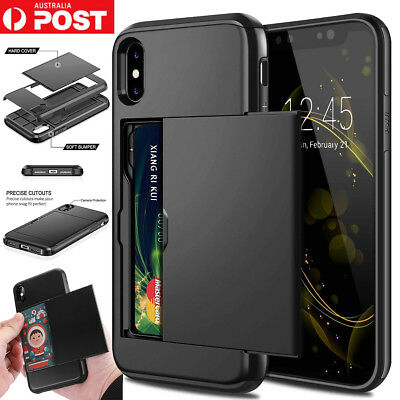 For iPhone X XS Max XR Case Slide Armor Wallet Card Slot Holder Shockproof Cover