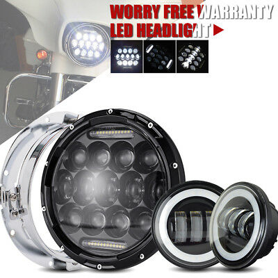 7Inch 75W Black Harley LED Headlight &4.5Inch 2pc 30W Passing Lamps
