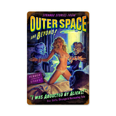 VINTAGE STYLE METAL SIGN Alien Abduction 12 x 18
