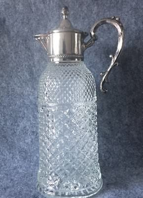 Vintage Silver Plated Topped  Claret Crystal Glass Decanter Jug 33cm Tall