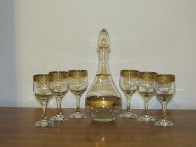 Vintage MCM Decanter Stopper 6 Matching Crystal Wine Glasses Wide Gold Gilt Rim