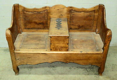 Rare Antique Primitive 18thC French Bench Settee with Storage