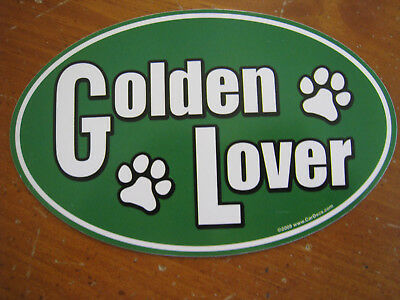 Brand New Golden Retriever Lover Oval Green Fridge Magnet w/Paw Prints