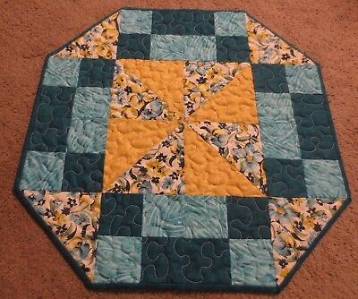 "Hand Made Quilted Table Runner/Mat/Topper~ 19 1/2"" ~ Octagonal~ Blue,Yellow"