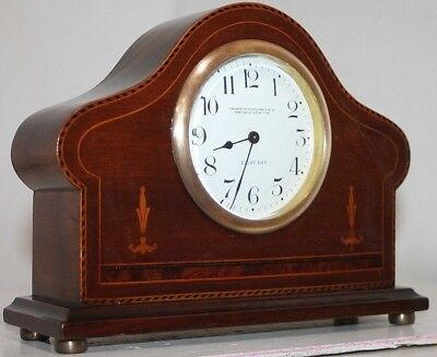 Antique Federal Inlaid English Jeweler's Mantel Clock W/ Porcelain Dial. Nice!