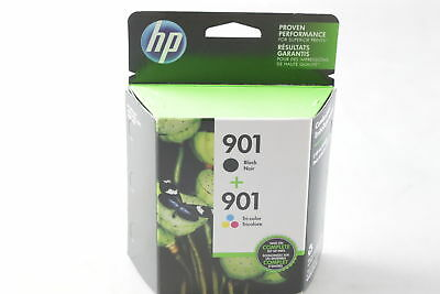 NEW Genuine HP 901 Black and Tricolor Ink Cartridges (CN069FN), Combo 2/Pack OEM