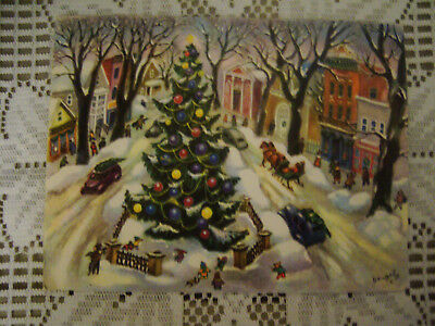 Vintage Greeting Card Christmas Snowy Village Town Sq. Tree Cars People Signed