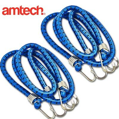 4x BLUE CORD STRAPS 11mm Thickness Bungee Elasticated Luggage Tie Rope Hooks Set