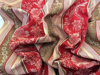 Vintage French Red Striped Ticking Fabric 154 X 113 Cms Original Fabric