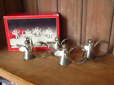 Vintage Set Of 4 Stylised Silver Plated Christmas Angel Napkin Rings