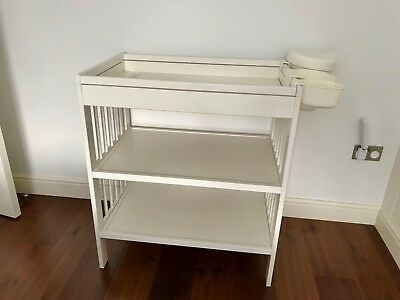 White Ikea Baby Changing Table (Gulliver) with Stor baskets