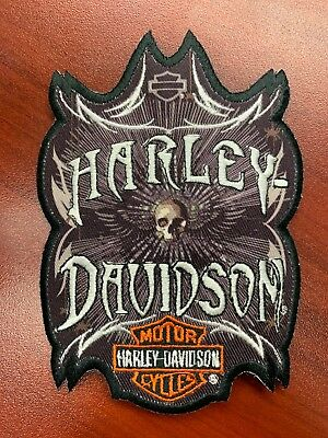 New Sew-On Skull Harley Davidson Patch