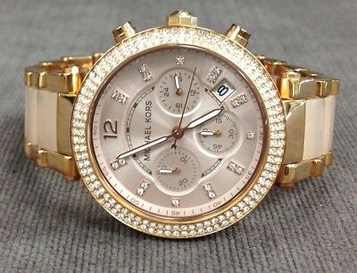 MICHAEL KORS MK5896 Parker Rose Gold Blush Crystal Bezel Watch