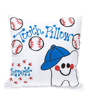 "Personalized ""Baseball Tooth"" Tooth Fairy Pillow"