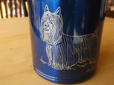 Silky Terrier - New item- Hand engraved Stainless Can Cooler by Ingrid Jonsson
