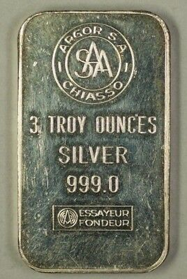 Stamped Silver Ingot 3 T.Oz .999 Pure Bar Argor South Africa Chiasso