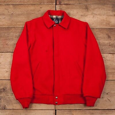 "Mens Vintage Woolrich 60s Red Wool Bomber Jacket USA Medium 40"" Tall R11094"