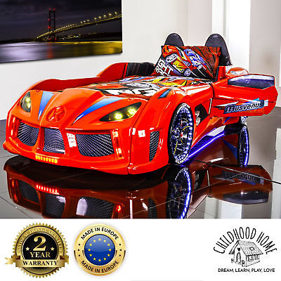 NEW Car Bed Kids GT Race Turbo with Lights, Sounds and Opening Doors