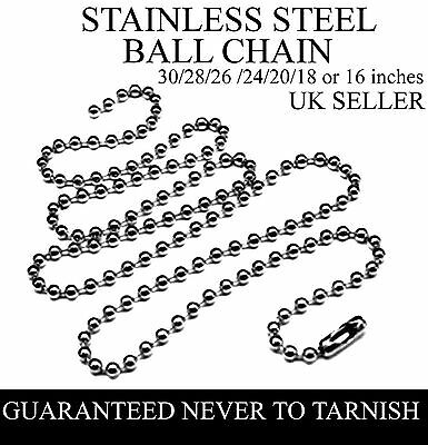 """Stainless Steel Ball Chain 30'' / 28'' / 26'' / 24'' / 22'' / 20'' / 18'' / 16"""""""