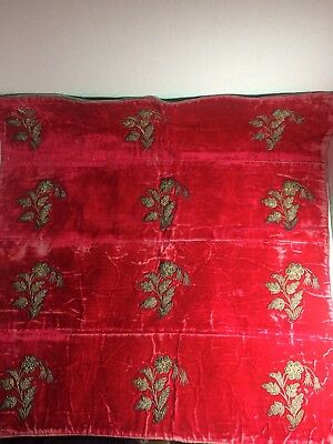 Vintage/Antique Velvet Piece With Silver Metallic Embroidery