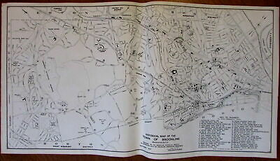 Brookline Massachusetts 1945 Historical Society large detailed old city plan