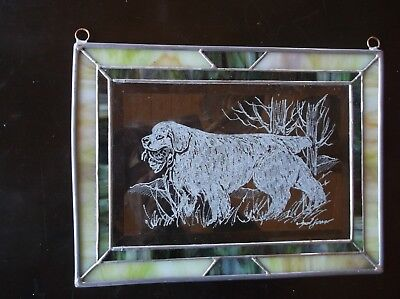 Clumber Spaniel- Beautifully Hand engraved Panel by Ingrid Jonsson.