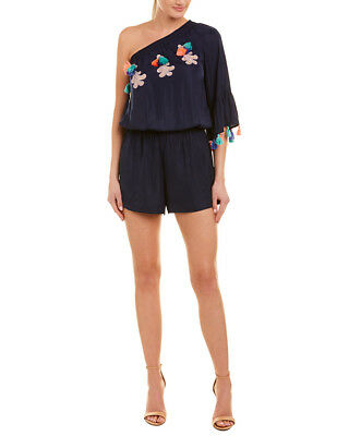 b98e9c3d629f LILLY PULITZER ARBELLE OFF-THE-SHOULDER ROMPER Indigo Ylang Ylang ...