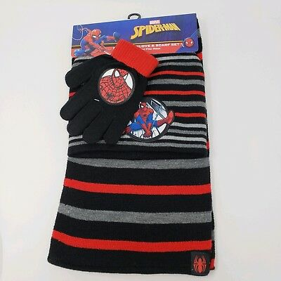 NEW Marvel Spiderman Boys 3 Piece Winter Hat, Pair of Gloves and Scarf Set