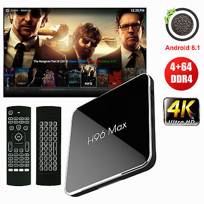 H96 Max Android 8.1 4+64G DDR4 TV Box S905X2 Quad Core WIFI+BT With Keyboard MX3