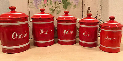Authentic Antique Vintage French Enamel RED 5 Piece Canister Set ~ Ribbed Design