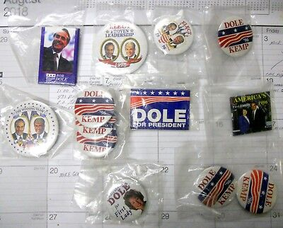 Group of 13 Bob Dole and Jack Kemp Campaign buttons out of local estate.