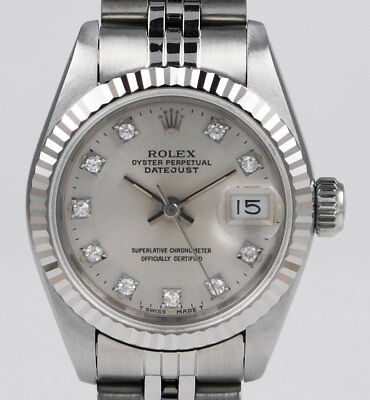 Ladies Rolex DateJust 18K/SS 69174 - Original Silver Factory Diamond Dial (1990)