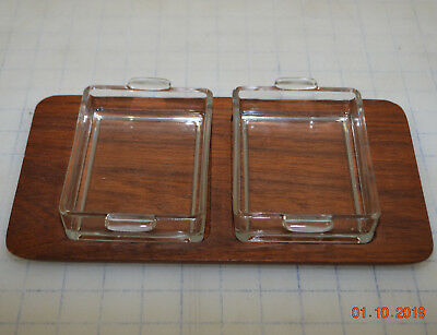 Digsmed Mid-Century Bangkok Teak Wood Tray Server w/ Two Glass Inserts Denmark
