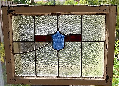 Antique Leaded English Stained Glass Window Wood Frame England Old House 22