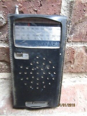 EMERSON Swingmate AM-FM Transistor Pocket Radio w/ case Model PH3780A - Works