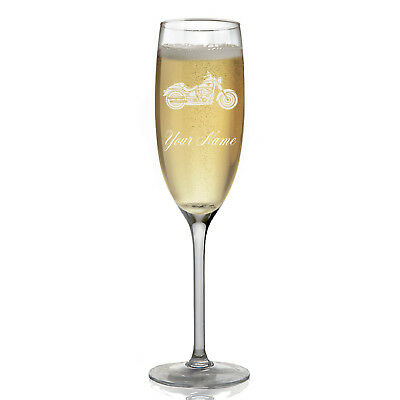 Personalized Champagne Glass - Motorcycle