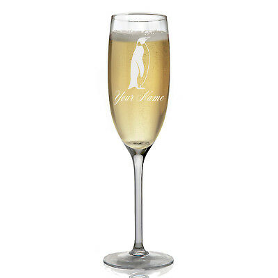 Personalized Champagne Glass - Penguin