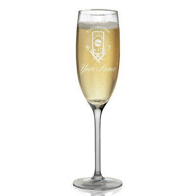 Personalized Champagne Glass - Electrician