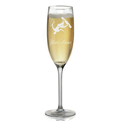 Personalized Champagne Glass - Kite Surfing