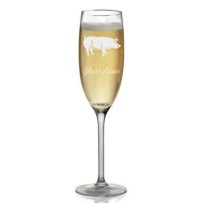 Personalized Champagne Glass - Pig