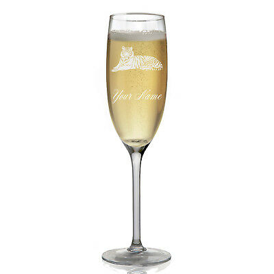 Personalized Champagne Glass - Tiger