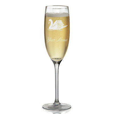 Personalized Champagne Glass - Swan