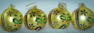 Christopher Radko Round Ball Christmas Ornament GOLDEN ALPINE SET OF 4 93-173**
