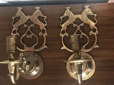 TWO VINTAGE Mid Century BRASS Pivoting  WALL SCONCES/CANDLE HOLDERS SPHINX Egypt