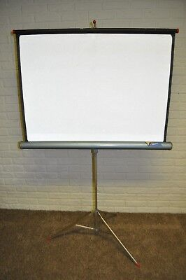 """Vintage 1960s Aurora  30"""" x 40"""" Projector Screen~Tripod Stand~Blue~Red Trim Caps"""