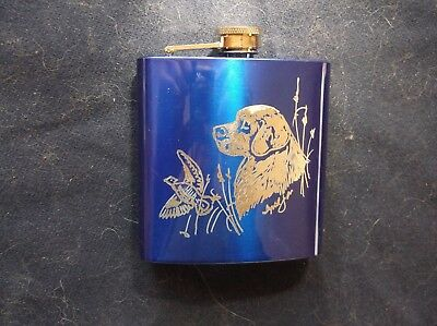 Clumber Spaniel- Hand engraved Stainless Pocket Flask by Ingrid Jonsson.