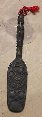 """Vintage Balinese Hand Carved Wood Wooden Flat Paddle 9"""" Long Woman & Fish"""